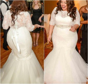 gorgeous-half-sleeves-mermaid-wedding-dresses